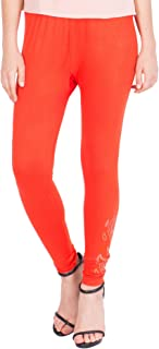 American-Elm Women's Cotton Viscose Net Legging- Dark Orange