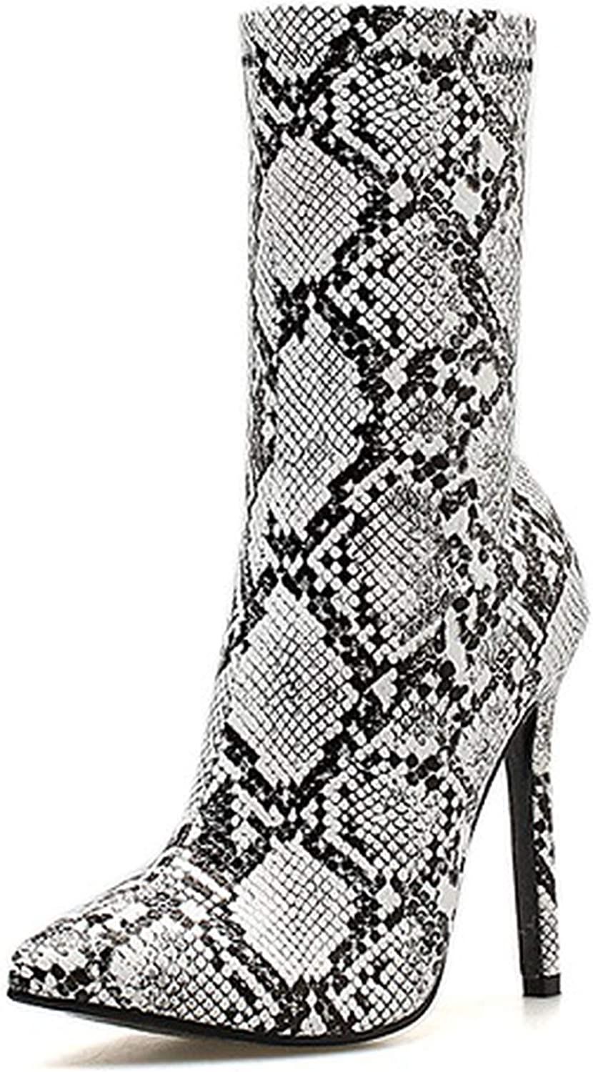 IOJHOIJOIJOIJMO Women Zipper Boots Snake Print Ankle Boots High Heels Fashion Pointed Toe Ladies Sexy shoes 2019