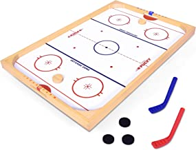 GoSports Hockey Ice Pucky Wooden Table Top Hockey Game for Kids & Adults - Includes 1 Game Board, 2 Hockey Sticks & 3 Pucks