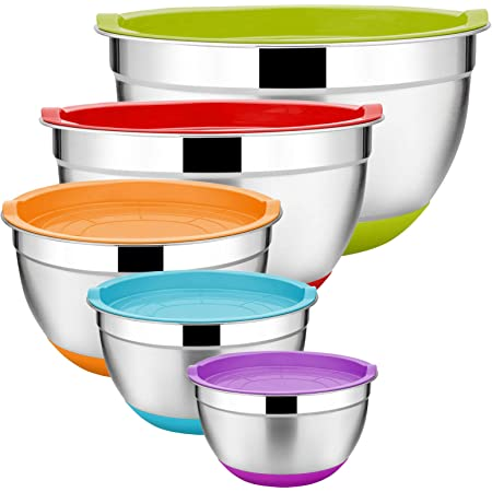 5-Piece Colored  Stainless Steel  Mixing Bowl Food Storage Set  w//Plastic Lids