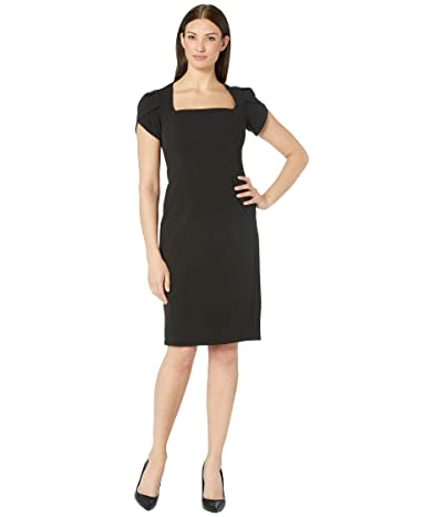 Donna Morgan Tulip Cap Sleeve Square Neck Sheath Crepe Dress (Black) Women