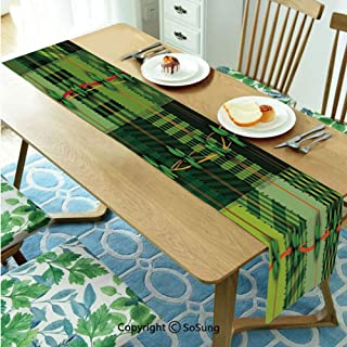 Irish Table runner for Farmhouse Dining Coffee Table Decorative,Patchwork Style St. Patricks Day Themed Celtic Quilt Cultural Checkered with Clovers Decorative 16