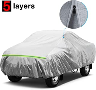 KAKIT Waterproof Truck Cover, 5 Layers All Weather UV Protection Car Cover with Driver Door Zipper for Truck Pickup, Fits up to 224