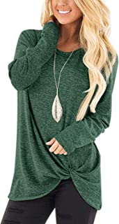 Women's Casual Twist Knot Tunics Tops Blouses Tshirts