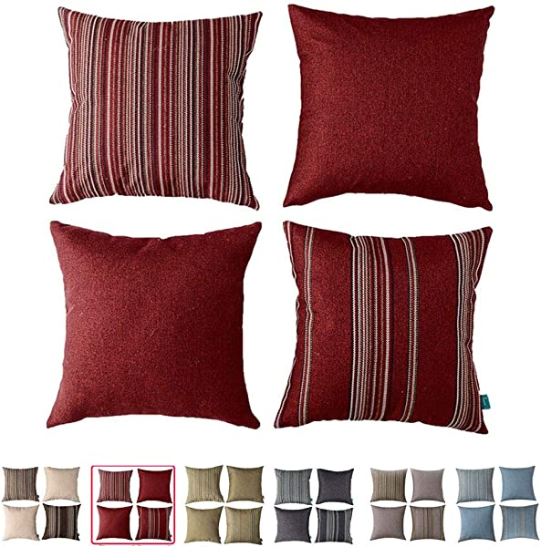 Home Plus Cushion Cushion Cover 18X18 Throw Pillow Covers RED Deco Pillow Four Cushions PER Set Woven Check Multi Pattern Story Woven Stripes Wool Look 4 Pack RED