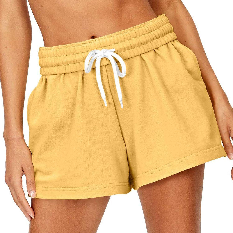 HCNTES Womens Shorts for Summer,Womens Casual Drawstring Pocketed Shorts Summer Loose Athletic Sports Short Pants