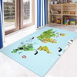 LIVEBOX Kids Play Mat,World Map Area Rug Soft Foam Playroom Rug 3' x 5' Non-Slip Childrens Carpet Educational & Fun Throw Rug for Living Room Baby Bedroom Nursery Best Shower Gift