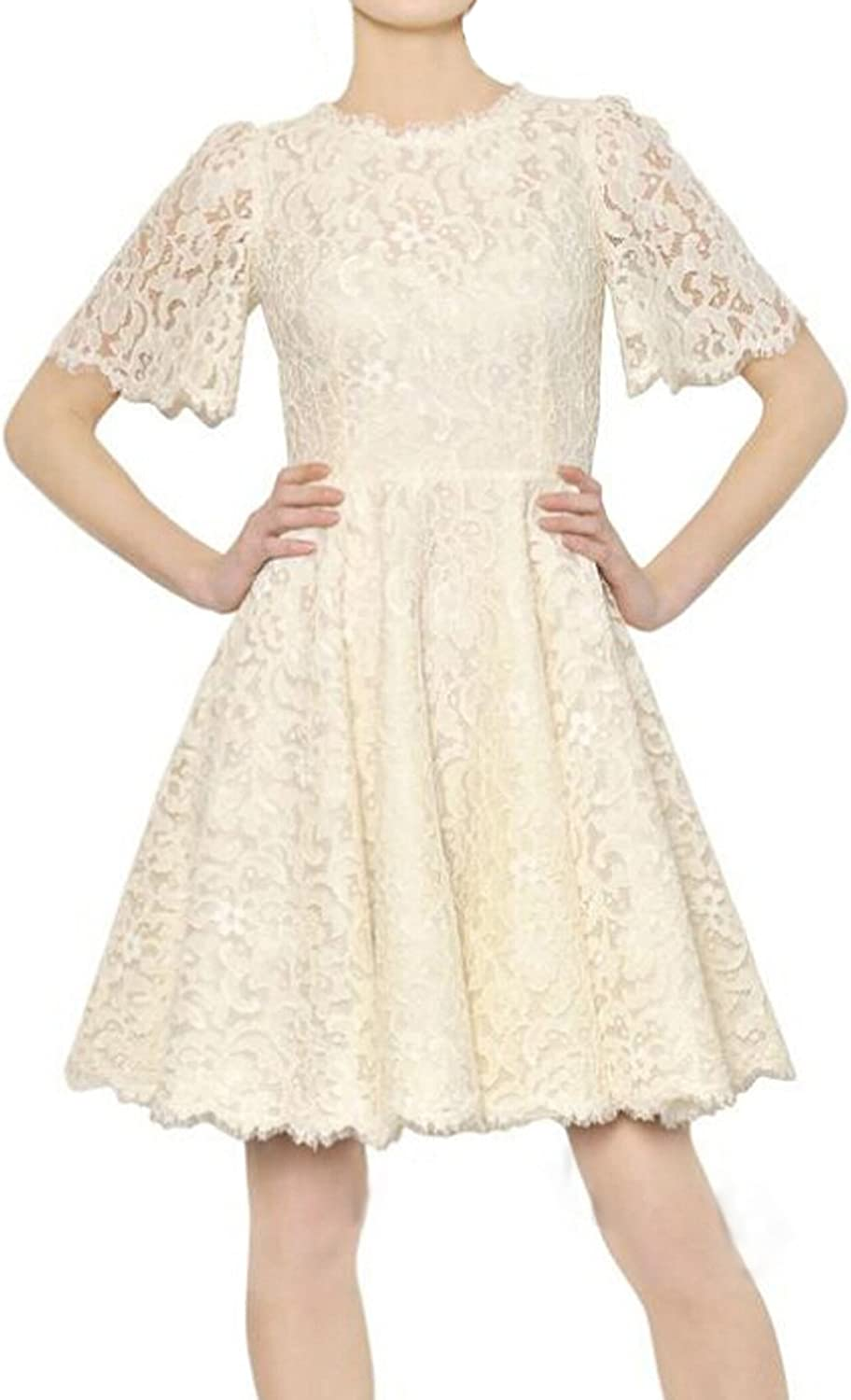 Muke Women's Half Sleeves Floral Lace Embroidery Princess Dress