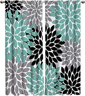 Window Treatments Curtains Room Window Panel Set for Living/Dining/Bedroom, Multicolor Dahlia Pinnata Flower Customized Teal,Black,Grey 27.5 by 39 Inch, 2 Panels