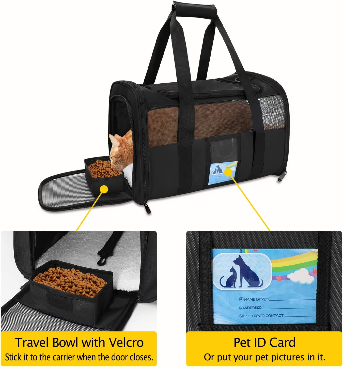 Soft Dog Carriers for Small Dogs Medium Dogs Cat Carriers for Medium Cats Small Cats Puppy Carrier TSA Approved Pet Carrier for Cats Dogs of 15 Lbs Refrze Pet Carrier Airline Approved