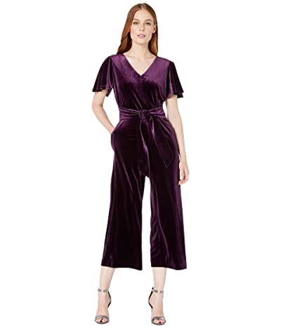 Tahari by ASL Flutter Sleeve Velvet Jumpsuit with V-Neckline and Tie Front (French Plum) Women