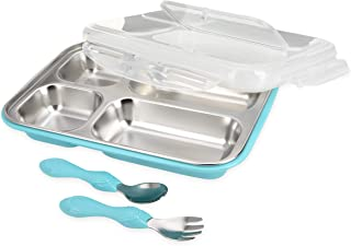 Nuby Insulated Stainless Steel Travel Lunch Box with Fork, Spoon & Lid, Aqua