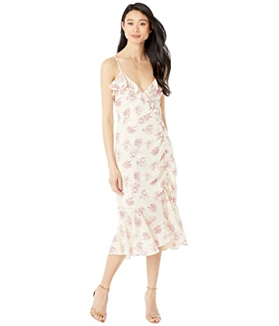 American Rose Shea Printed Ruched Asymmetrical Dress (Cream/Pink) Women