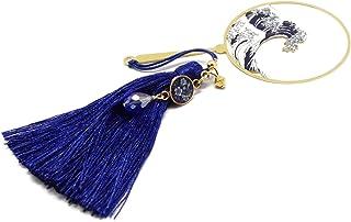 Segnalibro libri nappa perla onde giapponesi mare seigaiha blu bianco giappone ottone ottone regali personalizzati regalo ...