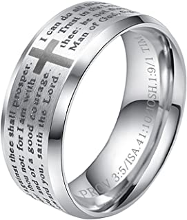 8MM Men's Stainless Steel Bible Verse Christian Lord's Prayer Cross Ring Wedding Bands Laser Engraved