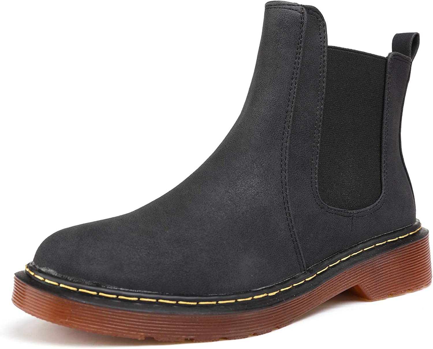 Odema Womens Leather Chelsea Boots Low Heel Elastic Slip On Ankle Bootie