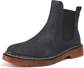 Womens Chelsea Boots PU Leather Low Heel Elastic Slip On...