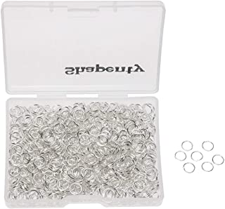 Shapenty 1000PCS Silver Plated Iron Open Jump Rings Connectors Bulk for DIY Craft Earring Necklace Bracelet Pendant Choker Jewelry Making Findings and Key Ring Chain Accessories (Silver, 6mm)