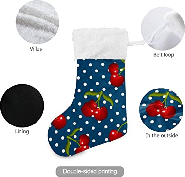 Christmas Stockings Red Cherries White Dotted Blue Background White Plush Cuff Mercerized Velvet Family Holiday Personalized