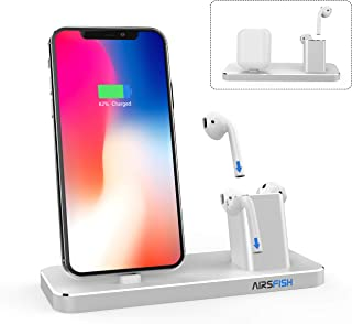 AirsFish Compatible for Charging Stand, 2 in 1 Smart Charge Stand Dock Stantion Holder Compatible with iPhone and AirPods Earbuds AirPods Case (Silver)