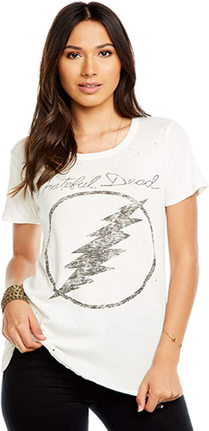 Chaser LA Womens Grateful Dead Lightning Bolt Crew Neck Tee Shirt Vintage White