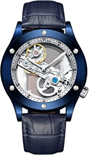 Gute See Through Automatic Mechanical Watch for Men Luxury Steampunk Bling Minimalist Blue Bezel Satinless Steel Roman Numerals Wristwatch