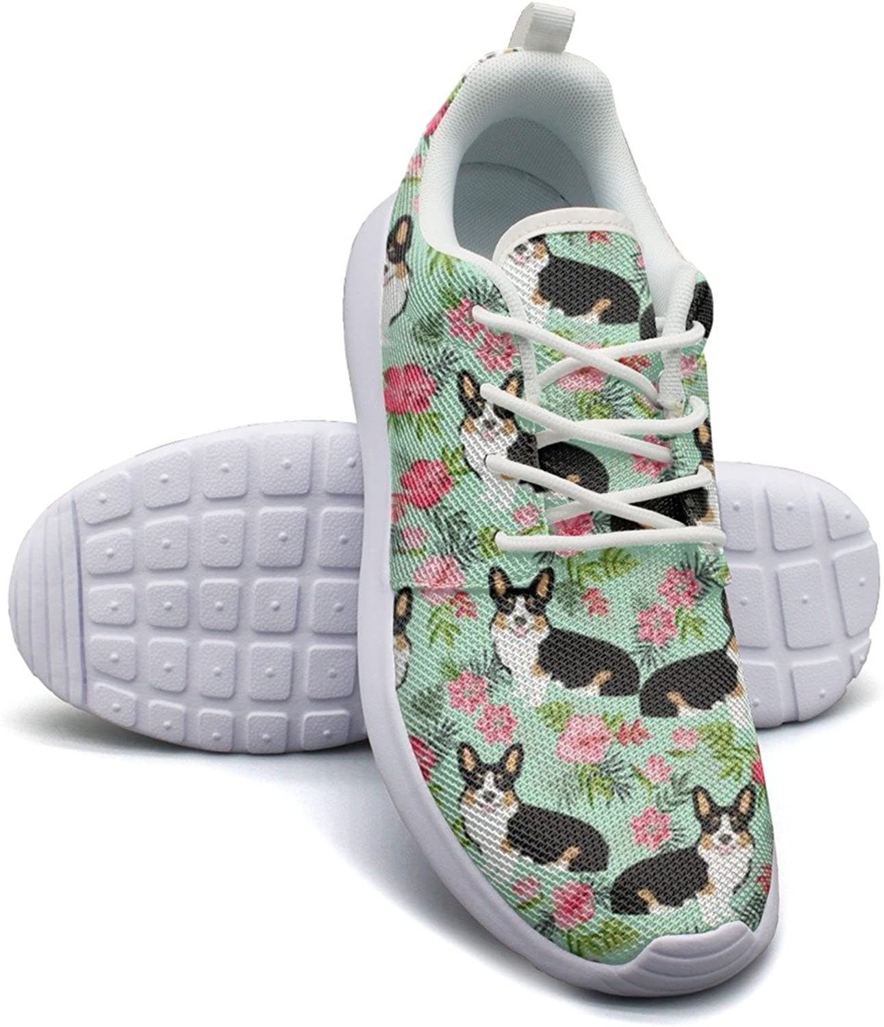 ERSER Corgi Hawaiian Floral Corgi Dog Long Distance Running shoes Women