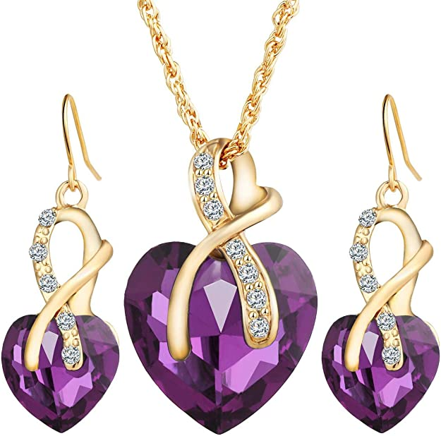 WomenGold Plated RedHeart Crystal Jewelry Sets Wedding Necklace Earrings GiftWRD