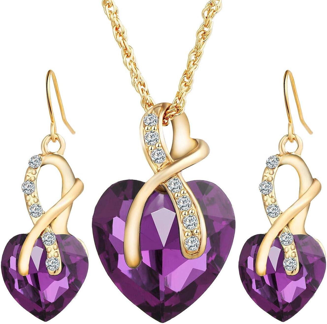 Heart Earring /& Necklace Set Druzy Jewelry Set Purple Jewelry Set Heart Jewelry Girlfriend Gift Jewelry Gift Valentines Gift Bridesmaid Gift