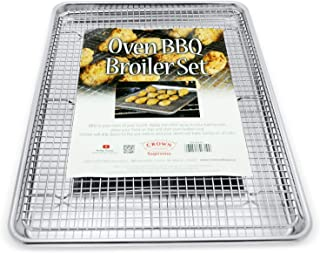 """Crown Baking Sheet with Rack, Large 13x18"""", Professional Baking Pans, Heavy Duty, Rust Free, Pure Aluminum, Bacon Pan for Oven, Half Sheet Pan with Rack, Roasting Pan with Rack"""