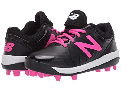 New Balance Kids J4040v5 Softball (Little Kid/Big Kid) (Black/Pink) Girls Shoes