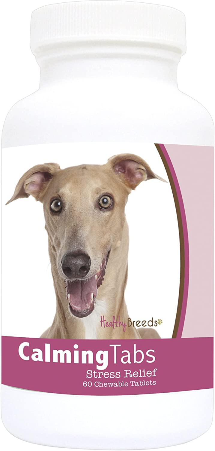 Healthy Breeds Calming Support Tablets for Italian Greyhound – Over 80 Breeds – Relief for Stress Anxiety Separation Composure – 60 Treats – For Small Medium Large Pets