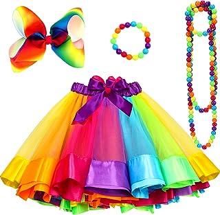 80s Rainbow Tutu Skirt Set for Girls Kids Fancy Dress Party
