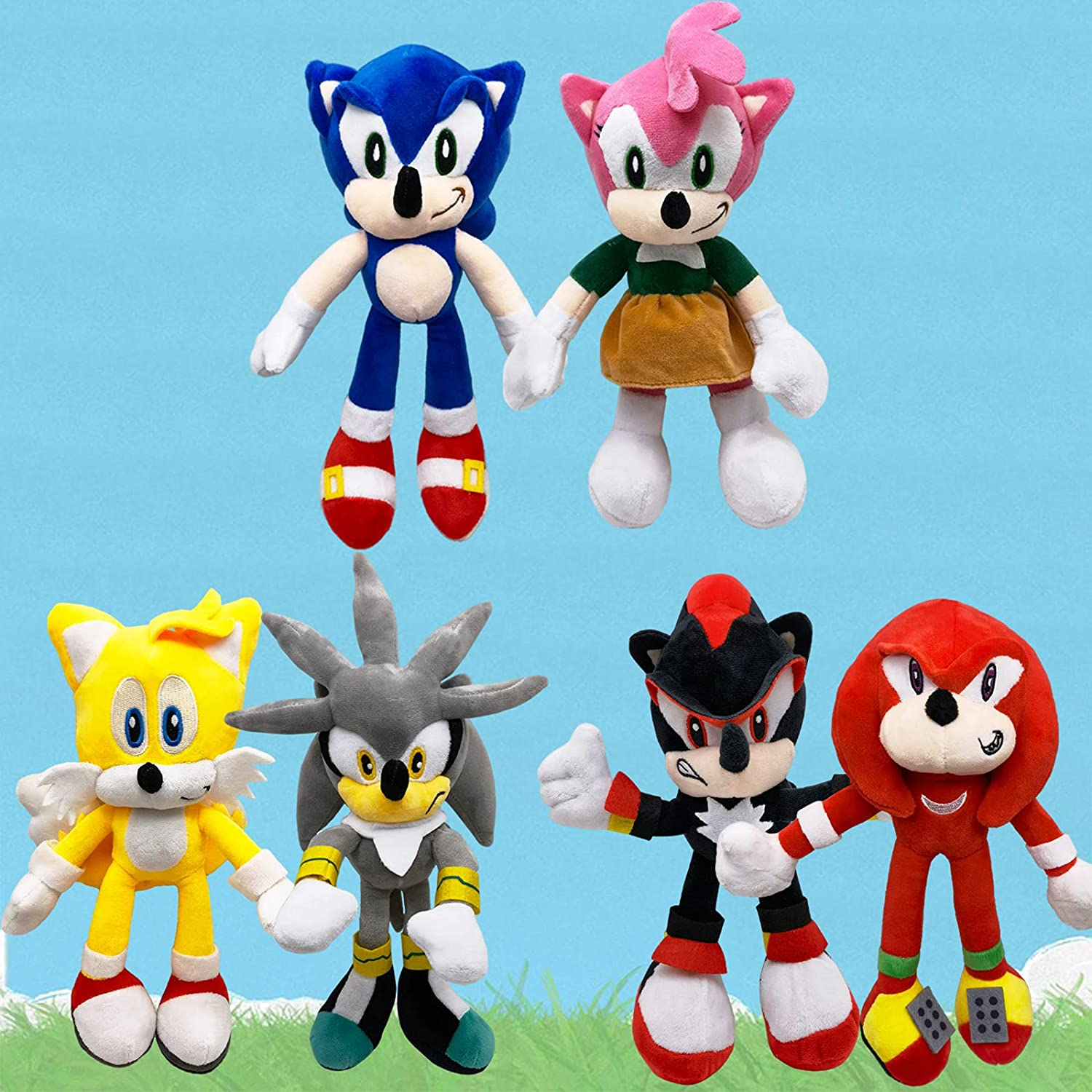 6pcs Sonic Toys Plush Set Popular product - Knuckles Shadow Miles Rose Amy At the price