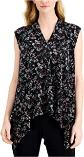 ALFANI Womens Black Speckle Sleeveless V Neck Handkerchief Top AU Size:10