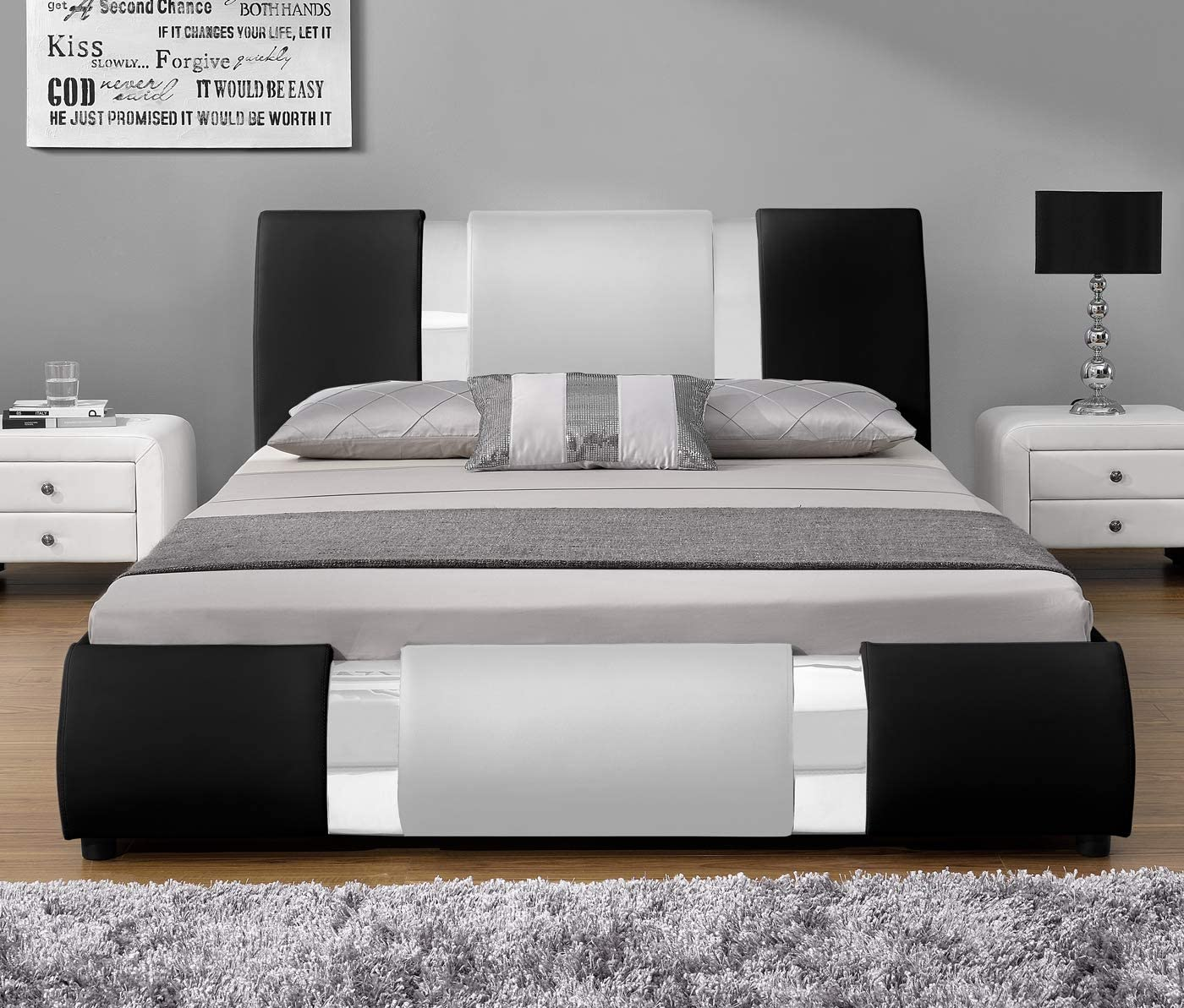 Amolife Iron Piece Bed Frame//Deluxe Solid Upholstered Modern Bed Frame//Mattress Foundation,Black,Full