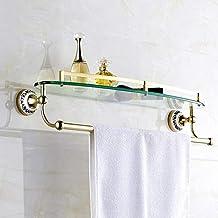 Badkamer glazen plank, enkele laag met handdoekstang Opbergplank voor wandmontage, cyaan bloem porselein goud