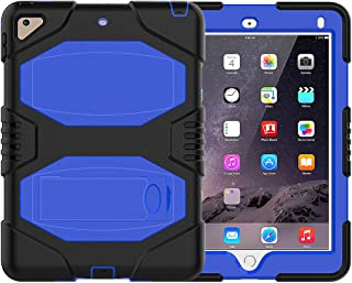 iPad 9.7 2018/2017 Case, ZERMU Heavy Duty Shockproof Rugged Cover Three Layer Hard PC+Silicone Hybrid Impact Resistant Armor Defender Full Body Protective Case with Kickstand for iPad 6th Generation