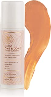 SANDIVA One & Done Tinted Sunblock With Sandalwood, Creamy Liquid, SPF 35+ And PA+++ (22), 40 Gm