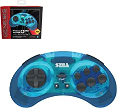 Retro-Bit Official Sega Genesis Bluetooth Controller 8-Button Arcade Pad for Android, PC, Mac, Steam - Clear Blue