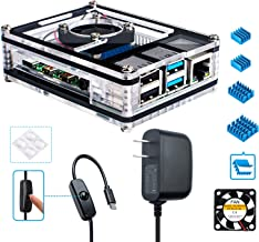 Miuzei Raspberry Pi 4 Case with 5V 3A USB-C Power Supply, Cooling Fan and 3× Heat-Sinks for Raspberry Pi 4 Model B (Pi 4 Board Not Included)