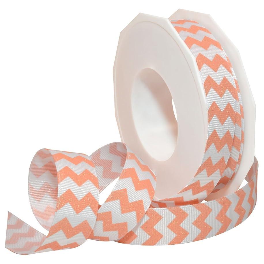 Morex Ribbon 98122/20-409 Polyester Sugar Chevron Ribbon, 7/8-Inch by 20-Yard, Coral Glaze
