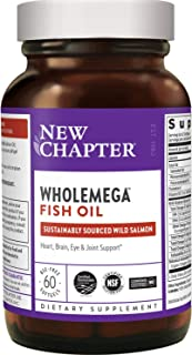 New Chapter Wholemega Fish Oil Supplement - Wild Alaskan Salmon Oil with Omega-3 + Astaxanthin + Sustainably Caught - 60 C...