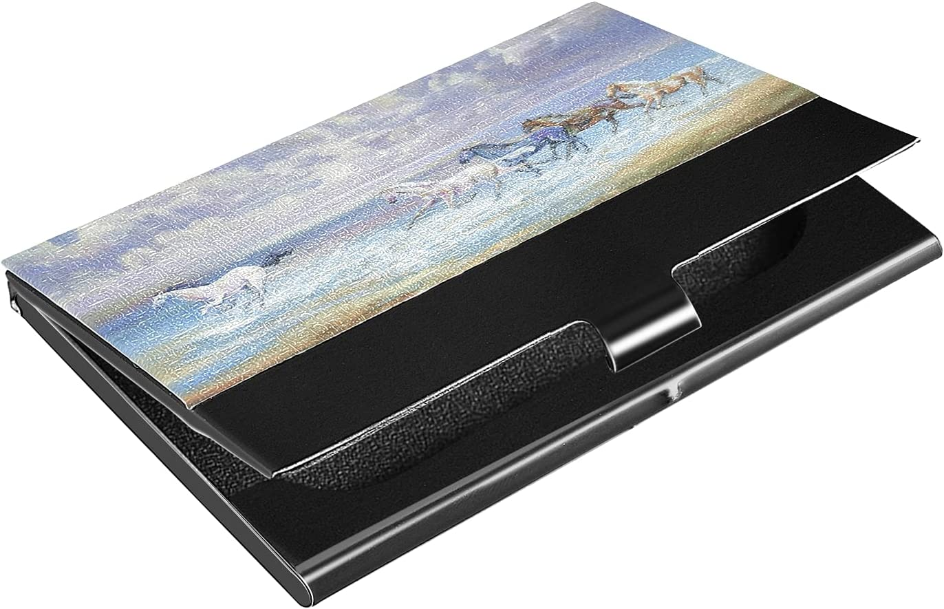 OTVEE Horses Painting Business Card Holder Wallet Stainless Steel & Leather Pocket Business Card Case Organizer Slim Name Card ID Card Holders Credit Card Wallet Carrier Purse for Women Men