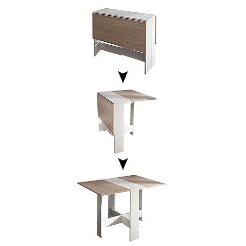 Symbiosis 2050A2134X00 Contemporain Table Pliante avec 2 Abattants Blanc/Chêne Naturel 103 x 76 x 73,4 cm