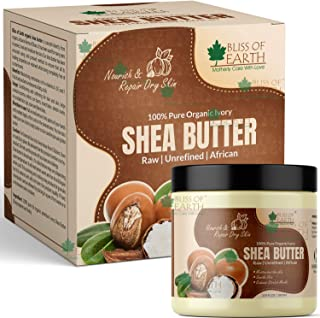 Bliss of Earth 100% Pure Organic Ivory Shea Butter, Raw & Unrefined, For Face & Hair,100 g