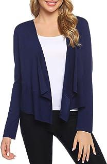 Aibrou Women's Cropped Cardigan Sweater Irregular Hem Open Front Bolero Shrug