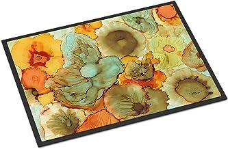 """Caroline's Treasures Abstract Flowers Teal and Orange Indoor or Outdoor Mat 24x36 8969JMAT, 8969JMAT, Multicolor, 24"""" H x ..."""