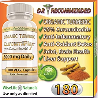 ORGANIC Tumeric Curcumin 3000 mg 180 Veg Capsules 95% Curcuminoids, Support Cardiovascular, Healthy Joints, Pain Supplement w Bioperine Piperine Black Pepper Extract Non Gmo Pills Advanced Absorption
