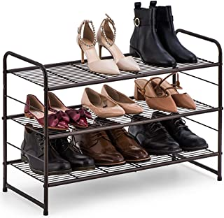 Bextsware 3-Tier Shoe Rack,Stackable and Adjustable Multi-Function Wire Grid Shoe Organizer Storage,Extra Large Capacity, Space Saving, Fits Boots, High Heels, Slippers and More(Bronze)